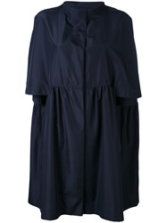Gianluca Capannolo Cropped Sleeves Coat Women Polyester 42 Blue