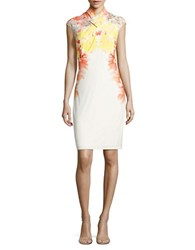 Calvin Klein Pleated Crossed Front Floral Sheath Dress Prcln Rse