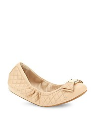 Cole Haan Tali Bow Quilted Leather Ballet Flats Nude