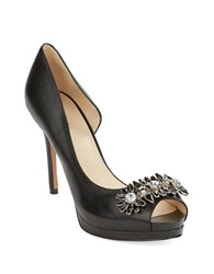 Nine West Finest Platform Leather Peep Toe Heels Black