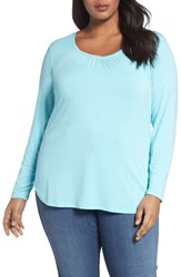 Sejour Plus Size Women's Sweetheart Neck Long Sleeve Tee Teal Angel