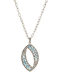 Bavna Long Diamond And Topaz Marquise Pendant Necklace Women's