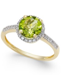 Macy's Peridot 1 1 3 Ct. T.W. And Diamond 1 8 Ct. T.W. Ring In 14K Gold Green