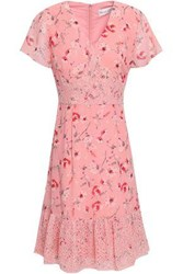 Mikael Aghal Woman Lace Trimmed Floral Print Crepe De Chine Dress Pastel Pink