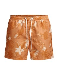 Jack And Jones Botanical Elasticized Shorts Coral Gold