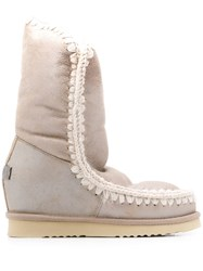 Mou Eskimo Wedge Tall Boots Neutrals