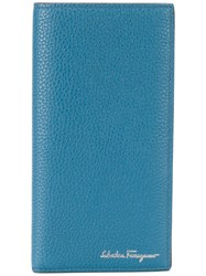 Salvatore Ferragamo Continental Logo Wallet Calf Leather Blue
