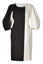 Jil Sander Cream Black Colorblock Silk Dress