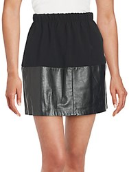 Vince Two Tone Leather Gathered Skirt Black