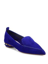 Nicholas Kirkwood Beya Suede Point Toe Loafers Electric Blue