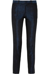Each X Other Leather Trimmed Brocade Tapered Pants Blue