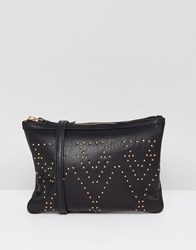 Urbancode Leather Cross Body Bag With Pin Studs Black