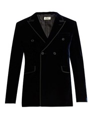 Saint Laurent Double Breasted Velvet Blazer Navy