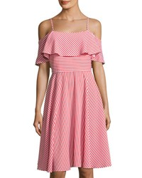 Neiman Marcus Ruffled Popover Striped Dress Red White