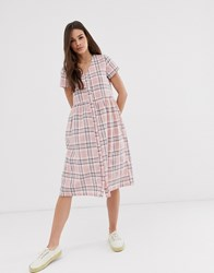 Daisy Street Midi Dress In Check Pink