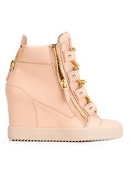 Giuseppe Zanotti Design Wedge Chain Hi Top Sneakers Pink And Purple