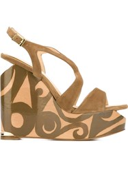 Paloma Barcelo Suede Wedge Sandals Nude And Neutrals