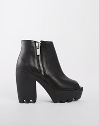 River Island Peepo Grunge Sole Ankle Boots Black