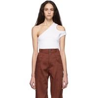 Telfar White Cropped Asymmetric Tank Top