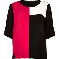 River Island Womens Dark Pink Color Block T Shirt