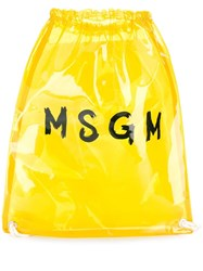 Msgm Clear Logo Print Backpack Yellow