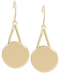 Kenneth Cole New York Gold Tone Disc Drop Earrings Shiny Gold