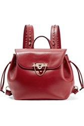 Valentino Demilune Studded Leather Backpack Red