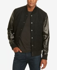 Kenneth Cole New York Men's Leather Sleeve Bomber Jacket Black Combo