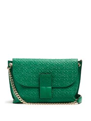 Loewe Avenue Leather Cross Body Bag Green