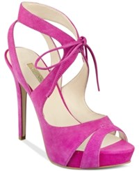 Guess Women's Hedday Ankle Tie Strappy Platform Dress Sandals Women's Shoes Dark Pink Suede