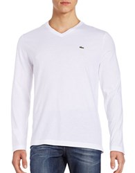 Lacoste V Neck Long Sleeve T Shirt White