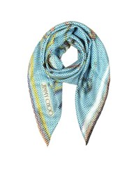 Jimmy Choo Polkadots Printed Pure Silk Square Scarf Blue