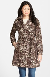 Via Spiga Animal Print Double Breasted Trench Coat Regular And Petite Leopard