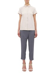 Ted Baker Colour By Numbers Fylie Pencil Print Cross Over Trousers Navy
