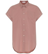 Brunello Cucinelli Stretch Cotton Poplin Shirt Pink