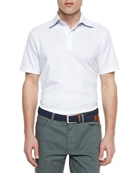 Ermenegildo Zegna Short Sleeve Knit Polo Shirt White