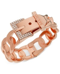 Guess Rose Gold Tone Crystal Buckle Hinge Bangle Bracelet
