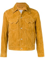 Ami Alexandre Mattiussi Suede Buttoned Jacket With Chest Pockets Yellow