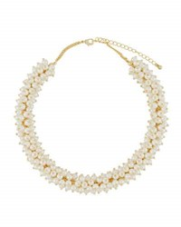 Kenneth Jay Lane Simulated Pearl Choker Necklace White