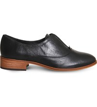 Office Flexi Elastic Detail Leather Oxford Shoes Black Leather