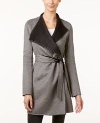 Calvin Klein Layered Collar Belted Wrap Coat Tin Charcoal