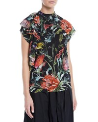Fuzzi Botanical Floral Print Short Sleeve Top Black