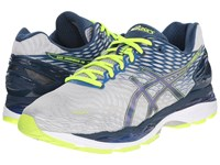 Asics Gel Nimbus 18 Silver Ink Flash Yellow Men's Running Shoes Red