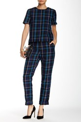 Romeo And Juliet Couture Plaid Wide Leg Pant Blue