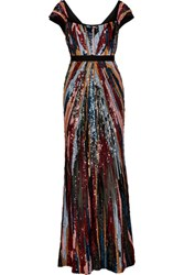 Elie Saab Sequined Open Back Chiffon Gown Black