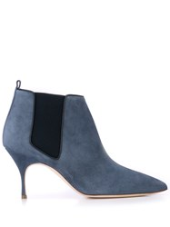 Manolo Blahnik Pointed Toe Ankle Boots Blue