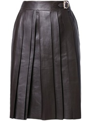 Salvatore Ferragamo Pleated Wrap Skirt Brown