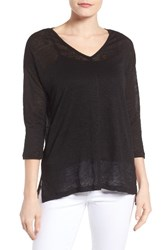 Vince Camuto Women's Two By Seam Detail Linen Tee Rich Black