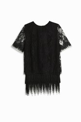 Adam By Adam Lippes Lace T Shirt With Fringe Black