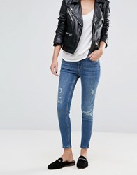 Oasis Distressed Detail Cropped Skinny Jeans Blue White